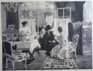 L'HEURE DU THE ENTRE AMIES d'après Edouard Gelhay (1856 - 1939)