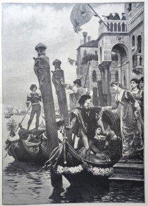 MATIN DE FETE DANS LA VIEILLE VENISE d'après Jacques Clément Wagrez (1850 - 1908)