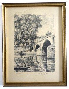 sur papier - Avril au pont Marie Ile Saint Louis -  format 33x25 gravure 24x17