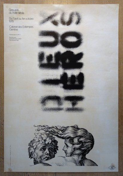 sérigraphie affiche Dieux Héros - format 94x64