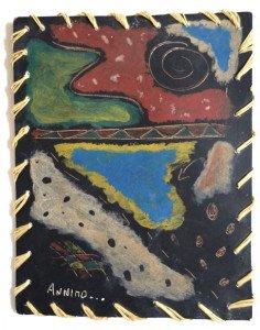 sur carton, bordure raphia - format 18x14