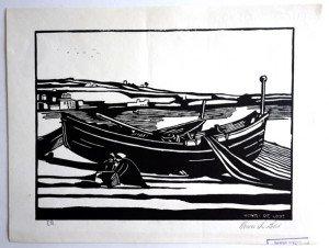estampe - Femme au bord d'un bateau -  format 20x27 sur 25x32.5