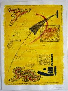 3 acrylique et encre de chine sur papier Arches 300 gr - 61x46 - Fragment du 19 juillet 1992