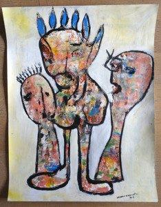 acrylique sur papier - sans titre - format 65x50