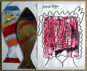 sur carton et papier - putain de sardines - format 35x42