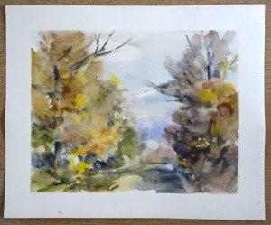 1989 aquarelle sur papier dessin tramé - sans titre - format 38x46 - daté 89