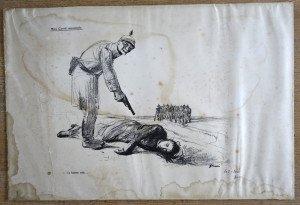 Lithographie 203 sur 300 - Miss Cavell assassinée - format 38x56