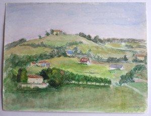 1973 papier dessin lisse - St Marcellin - format  24x31 daté 1973