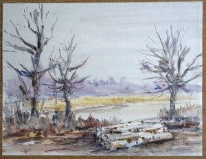 1989 aquarelle titre Etang vers Chalamont signé daté 17 1 89 - format 37x49