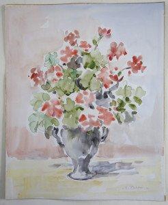 1991 aquarelle sans titre daté dos 2-3-1991 - format 42x34
