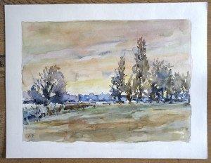 2008 aquarelle signée A.P -sans titre datée dos 10 12 2008 - format 50x65