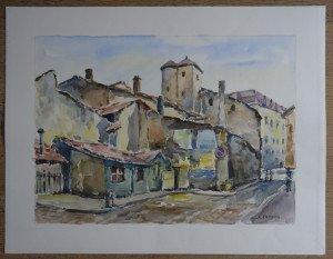 aquarelle signée A. Pardon - non datée titrée La cabane en bois Villefranche- format 50x65