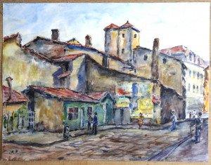 aquarelle signée A.P. titrée dos - rue paul bert 1951 - format pleine page 50x65