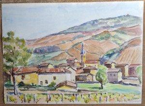 aquarelle sur papier dessin - Titre au dos Rivolet - Format 34x47