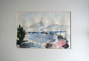 aquarelle sur papier dessin - titrée dos  Port de plaisance Aix les Bains - format (hors marquise) 20x30