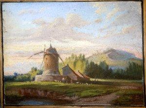 pastel sur toile Moulin  format 24x32