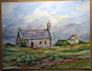2010 aquarelle signée A.P. titrée dos Chapelle de Keremma format 50x65