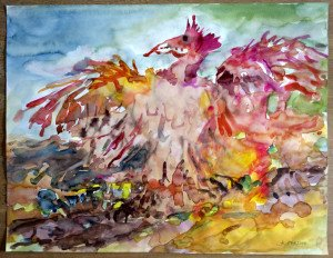 2014 aquarelle sans titre datée dos 21 01 2014 format 50x65