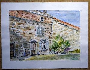 21 2009 aquarelle signée datée titrée dos D'après dessin vieille maison à Ajoux 18 09 2009 format (hors marquise)39x54