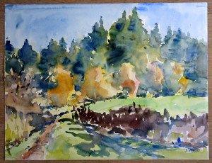 21 2010 aquarelle datée titrée dos 102010 Au dessus d'Ajoux format 50x65