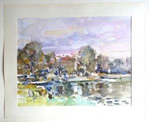 22 1990 aquarelle sur papier dessin lisse - format 31x40 sur  38x46 - daté 1990