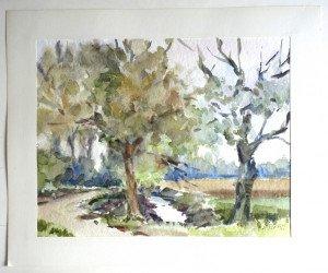 22 1990 aquarelle sur papier tramé - format  30x40 sur 38x46 - daté 1990