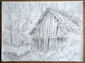 24 1995 dessin crayon signé A.P. 95 daté titré Cabane dans le parc Marie Mercier format 24x32