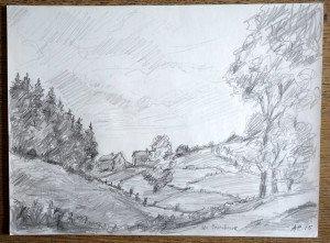 25 2015 dessin crayon signé A.P.15 titré Les Pourchoux format 24x32