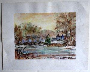 26 aquarelle non signée non datée format 16.5x21 sur 24x30