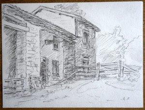 27 2009 dessin crayon sugné A.P. daté titré dos 28 07 2009 Vieille maison aux Charmes