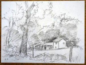 27 2011 dessin crayon signé A.P. titré daté dos 04 08 2011 Les Charmes format 24x32