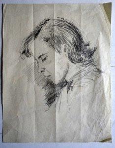 32 portrait crayon non signé format 27x21