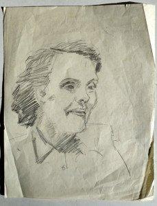 32 portrait dessin crayon non signé format 27x21