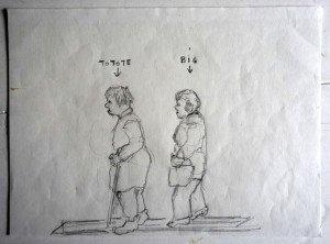 33 Totote et Big dessin crayon non signé format 17.5x24
