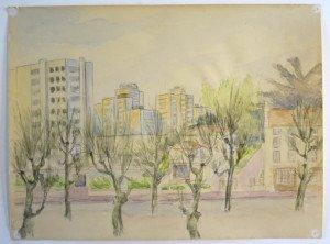 6 aquarelle Cours Fauriel St Etienne format 24x32