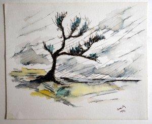 aquarelle signée Xavier 1991 format 17.5x21