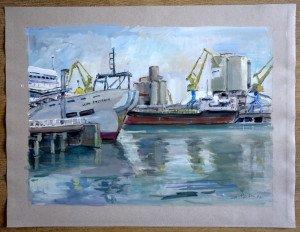 1997 Gouache canson demi teinte datée titrée dos 27071997 Port de Brest - format 50x65 (cadeau fils artiste)