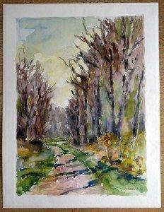 2010 aquarelle datée titrée dos D'après paysage près de la Moutonnière 11042010 format 50x65