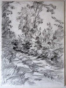 2010 crayon signé A.P.  daté titré dos 05072010 Sur le chemin de la Brette format 32x24