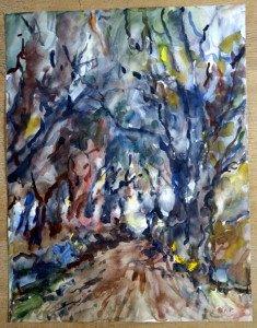 34 2011 aquarelle signée A.P. daté dos 24 02 2011 format 65x50