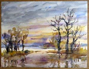 42 2011 aquarelle signée A.P.11 datée dos 27 01 2011 format 50x65