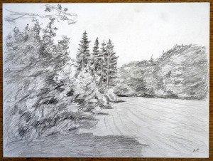 52 2009 dessin crayon signé A.P. titré daté dos 16 08 2009 Jura Près de Champagnole format 24x32