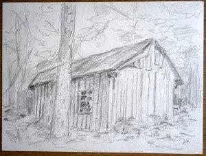 52 2010 dessin crayon signé A.P. daté titré dos 28 06 2010 La cabane au St Rigaud format 24x32