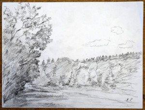 52 2013 dessin crayon signé A.P. daté titré dos 20 08 2013 Les prés de Bras Maigre format 24x32