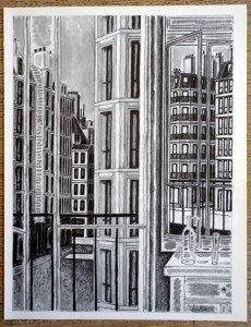 Fenêtre et Miroir crayon et gouache