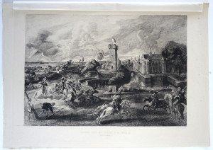 page 106' - Sculp Ch. de Billy - TOURNOI PRES DES FOSSES D'UN CHATEAU - Bassin 29x39.5 Gravure 23.8x34.3
