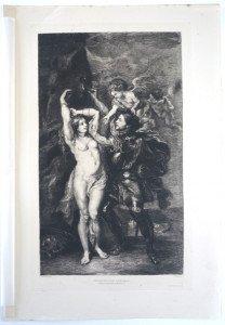 page 54' - Sc F. Milius - Imp A. Clement Paris - PERSEE DELIVRANT ANDROMEDE - Bassin 38x23 Gravure 34x20.3