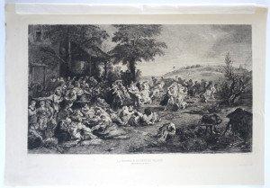 page 94' - Sc Ch. de Billy - Imp A. Clement Paris - LA KERMESSE OU FETE DE VILLAGE - Bassin 25.5x40.3 Gravure 22x38
