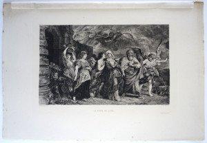 page 96' - Sc Ch. de Billy - Imp A. Clement Paris - LA FUITE DE LOTH - Bassin 21.8x31.8 Gravure 17.7x28.5