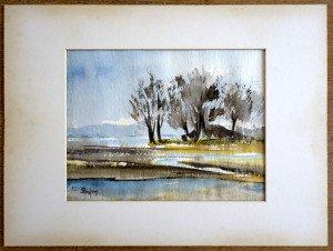 z2 aquarelle titrée au pays de Loire format 19x25 sur 30x40